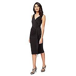 Debut - Black 'Jaime' V-neck knee length wrap dress