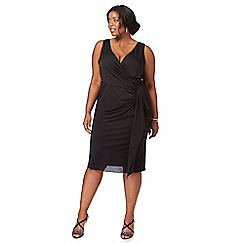 Debut - Black 'Jaime' V-neck knee length plus size wrap dress