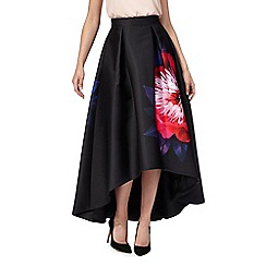 Debut - Black floral print dipped hem skirt