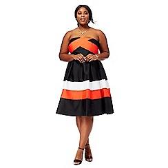 Debut - Multi-coloured 'Florida' bandeau plus size prom dress