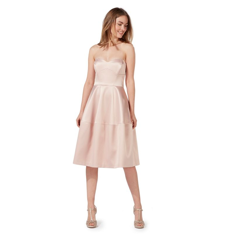 Debut Pink bandeau knee length prom dress
