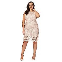Debut - Light pink lace shift plus size dress