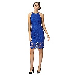 Debut - Blue lace high neck knee length shift dress