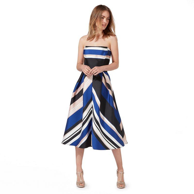 Debut Multi-coloured stripe print bandeau midi prom dress
