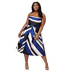 Debut - Multi-coloured striped plus size prom dress