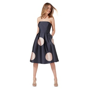 Debut Navy (Blue) Spot Print Bandeau Dress