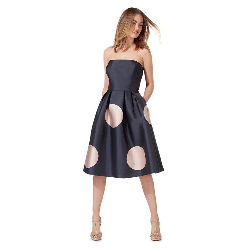 Debut Navy spot print bandeau knee length prom dress