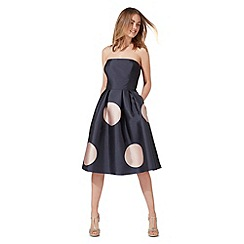 Debut - Navy spot print bandeau plus size dress