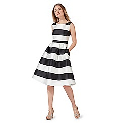 Debut - Black and white stripe print knee length prom dress