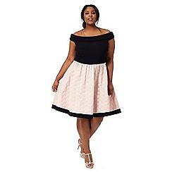 Debut - Navy jacquard off the shoulder plus size prom dress