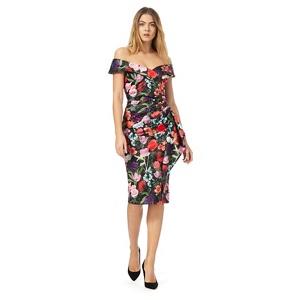 Plus Size Debut Multi-Coloured Floral Print Off-Shoulder Dress