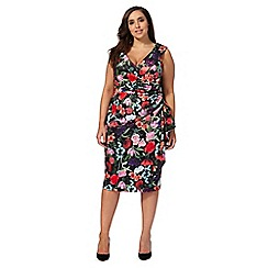 Debut - Multi-coloured floral print off-shoulder plus size dress