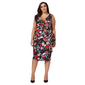 Debut Multi-Coloured Floral Print Off-Shoulder Plus Size Dress