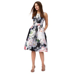 Plus Size Debut Multi-Coloured Floral Print Prom Dress