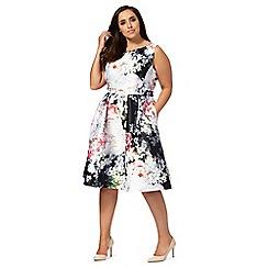 Debut - Multi-coloured floral print plus size prom dress