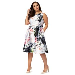 Debut Multi-Coloured Floral Print Plus Size Prom Dress