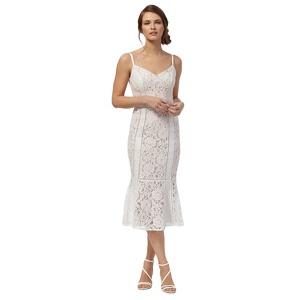 Debut Ivory 'edina' Lace Fluted Hem Dress