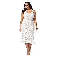 Debut - Ivory 'Edina' lace fluted hem plus size dress
