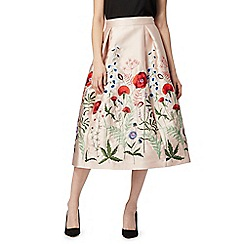 Debut - Light pink floral embroidered skirt