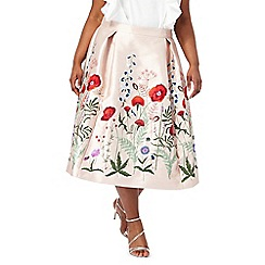 Debut - Light pink floral embroidered plus size skirt