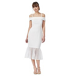 Debut - Cream 'Bethany' bardot neck evening dress