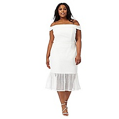 Debut - White 'Bethany' off-shoulder plus size dress