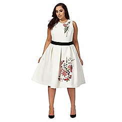 Debut - White 'Sienna' lace embroidered plus size prom dress