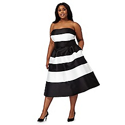 Debut - Black and white bandeau plus size prom dress
