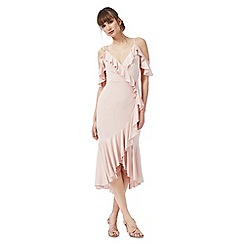 Debut - Pale pink 'Salsa' cold-shoulder ruffled dress