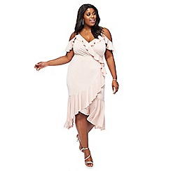 Debut - Pale pink 'Salsa' cold-shoulder ruffled plus size dress