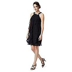 Debut - Navy ruffled stone embellished dress
