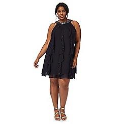 Debut - Navy ruffled stone embellished plus size dress