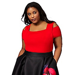 Debut - Red cold shoulder plus size top