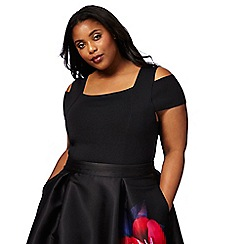 Debut - Black cold shoulder plus size top