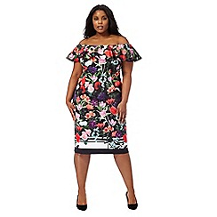 Debut - Multi-coloured floral print plus size dress