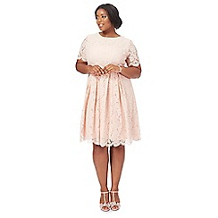 Debut - Light pink lace 'Lucie' knee length plus size prom dress
