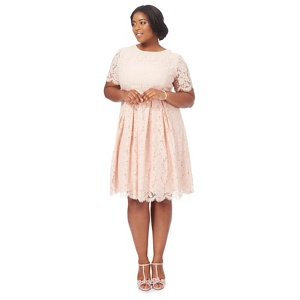Debut Light pink lace 'Lucie' knee length plus size prom dress