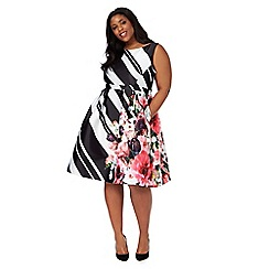 Debut - Black and white block striped floral plus size prom dress