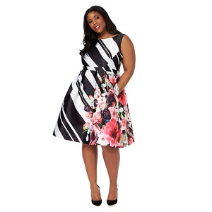 Debut Black and white block striped floral plus size prom dress