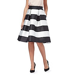 Debut - Black and white monochrome striped circle skirt