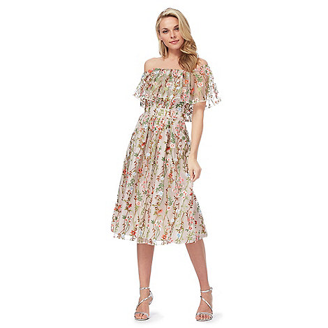 Debut - Multi-coloured floral embroidered dress