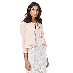 Debut - Light pink 'Talia' tie neck cropped jacket