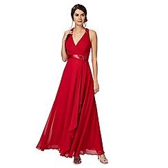 No. 1 Jenny Packham - Dark pink 'Lily' waterfall evening dress