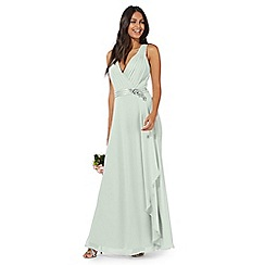No. 1 Jenny Packham - Green 'Lily' v-neck evening dress