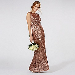 No. 1 Jenny Packham - Tan sequin embellished evening dress
