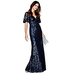 No. 1 Jenny Packham - Blue embellished 'Carys' v-neck evening dress