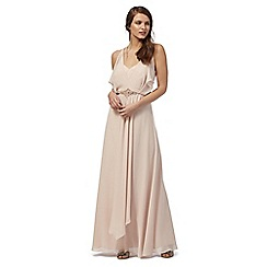 No. 1 Jenny Packham - Light pink stone embellished waist maxi dress
