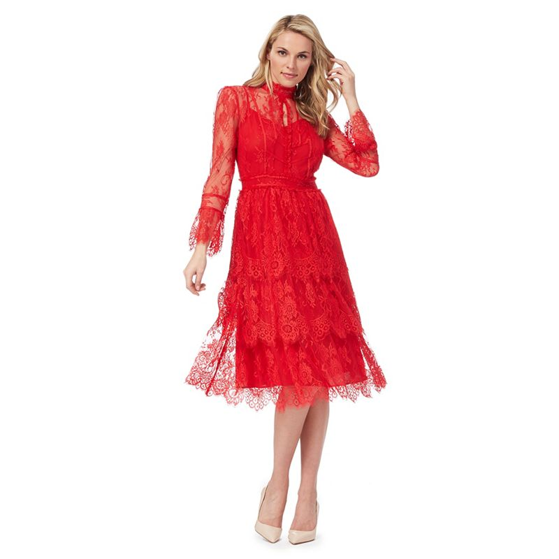 Debut Red lace Lydia high neck knee length prom dress