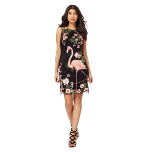 Butterfly by Matthew Williamson Black and pink flamingo print dress
