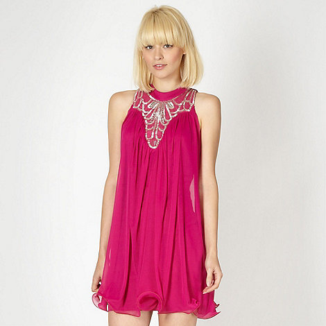 Diamond by Julien Macdonald - Designer dark pink embellished ruffle hem dress